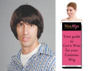 Hippie Boy Beatle Colour Black - Enigma Wigs Bowl Cut Skater Tony Hawk Beetle Men's Bundle with Wig Cap, MaxWigs Costume Wig Care Guide