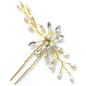 BlueSpace Hair Pins Girls Crystal Pearl Hair Clips Wedding Bridal U Hairpin Set Hair comb--2pcs