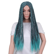 Netgo Women Teal Mixed Black Cosplay Wigs Halloween Costume Braids Wigs for Black Women 60cm
