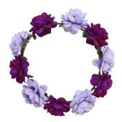 TiaoBug Women Girls Handmade Rose Flower Headband Hair Wreath Crown Garland for Wedding Parties Purple One Size