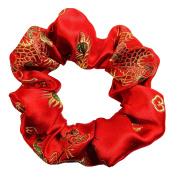Premium Satin Brocade Dragon Print Scrunchies Ponytail Holder Scrunchie King Made in the USA