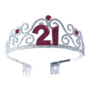 FF 21st Birthday Glitter Metal Tiara for Sweet 21 Party