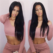 60cm New Fashion silky Long Straight Synthetic Lace Front Wig Heat Resistant Glueless Natural Hairline Half Hand Tied Lace Front Wigs For Women With Baby Hair