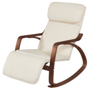 Best Choice Products Cushioned Birch Bentwood Rocking Chair w/ Adjustable Leg Rest