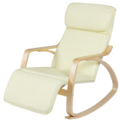Best Choice Products Birch Bentwood Cushioned Rocking Chair w/ Adjustable Leg Rest
