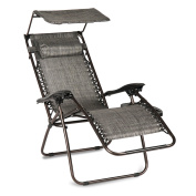 Belleze Zero Gravity Chair Lounge Outdoor Yard Beach Sunshade Canopy w/ Tray, Grey