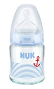 Nuk First Choice+ Glass Baby Bottle 120 ml Size 1 S (0-6 Months) with Anti-Colic Silicone Teat Blue