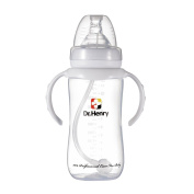 Per baby feeding bottle with straw and handles Wide Mouth Breastfeeding Nursing Bottles BPA Free 330ml