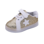 Kids Led Star Pedal Sneaker, Leedford Hook & Loop Luminous Toddler Baby Colourful Light Shoes