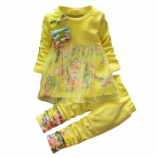 Elevin(TM)2017Toddler Kids Baby Girls Floral Clothes T-shirt Tops Dress Pants Outfits Set