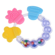 Dovewill Baby Care Toddler Teether Chew Toy Molar Rod Silicone Handbell Jingle Baby Pacifier - Blue, 9.7x9.5cm