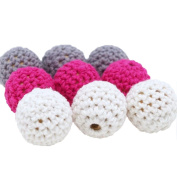 Baby Love Home 30pcs 20mm Crochet Beads White Grey Dark Pink Mixed Knitted Wooden Beads Handmade Crafts Baby Teething Toy Nursing Jewellery Gift for Mom