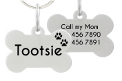 Double Sided Laser Etched Stainless Steel Pet ID Tag for Dog Engraved and Personalised Bone Shape