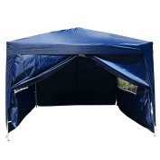 Zimtown 3m x 3m Folding Tent Gazebo Wedding Party Canopy pop up Instant Shelter W/ Two Doors & Two Windows and Carry Bag Blue