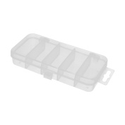 Plastic 5 Compartments Fishing Lure Bait Tackle Tool Storage Box Case Clear