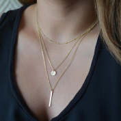 FXmimior Pendant Gold Chain Long Layered Bar Party Wedding Necklace Jewellery For Women