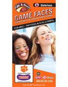 Clemson University Tigers – Waterless Peel & Stick Temporary Tattoos – 12-Piece Combo – 8 Orange Tiger Paw Logo Spirit Tattoos & 4 Orange/White Tigers on Purple Eye Strips