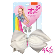 JoJo Siwa Signature Collection Small Keepper Hair Bow and Large Bow Necklace Gift Set - White Bow with Rhinestone Keeper / Silver Bow Necklace With Sticker Patch Set Included