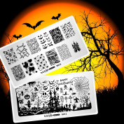 Whats Up Nails - 2 Pack Variety Stamping Plates (A012, B023) for Halloween Stamped Nail Art Design