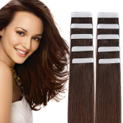 36cm Tape in Hair Extensions Remy Human Hair Seamless Glue in Tape Hair Extension 20pc 40g/pack Dark Brown #2