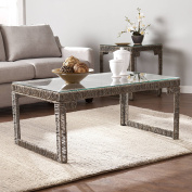 Luxure Arayes Hyacinth and Glass Coffee Table, Grey