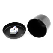 Game Dice Roller Cup Black w 5 Dices