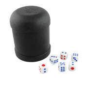 Game Dice Roller Cup Black w 6 Round Corner Dices