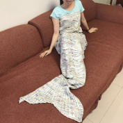 Handmade Mermaid Tail Blanket Crochet , iBaby888 All Seasons Warm Knitted Bed Blanket Sofa Quilt Living Room Sleeping Bag for Kids and Adults