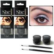 2 Black Gel Eyeliner Liquid Waterproof Brush Pen Pencil Smokey Eye Liner Make Up