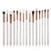 Jessup 15Pcs Pearl White/Rose Gold Professional Makeup Brushes Set Make up Brush Tools kit Eye Liner Shader Natural-synthetic Hair