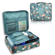MANUKA Multi-function Makeup Cosmetic Bag Toiletry Travel Kit Organiser Floral Blue