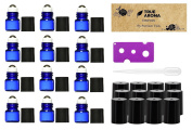 Premium Vials,12 pcs, Cobalt Blue, 1ml Glass Roll-on Bottles with Stainless Steel Roller Balls - 1 Dropper and 1 Opener included, Refillable Aromatherapy Essential Oil Roll On