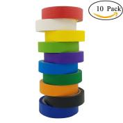 M-jump Multi Coloured Masking Washi Tape - 10 Rolls Variety Set - 2.5cm x 22yd Per set - Fun DIY Arts Supplies Kit for Little Kids, Toddlers & Adults