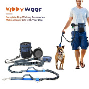 Dog Walking Leash Set, KiddyWoof Premium Hands Free Running Lead Dual Bungees with Waist Belt , Training Treat Pouch, Use As Double Dog Leash for Walking Hiking + Bonus Pet Bowl and Poop Bag Holder