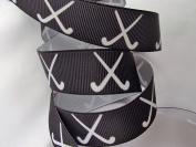 Grosgrain Ribbon - Black Field Hockey Print - 2.2cm W - 5 Yards