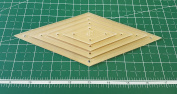 Diamond Quilting Acrylic Templates 10cm , 7.6cm , 5.1cm , 2.5cm 45 Degree 0.6cm Seam Allowance, 0.3cm Acrylic
