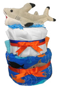 Nappy Cakes for a Baby Shower - Shark Aquatic Centrepiece by Sunshine Gift Baskets