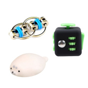 Fidget Cube Fidget Keychain and Squishy Squeeze Stretchy Animal Toys For ADD, ADHD, Anxiety & Autism & Adults & Children