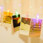 LED Photo Clips String Lights,Battery Operated -Multi Colours, Perfect fit Room Decoration/Christmas/Party Photo Holder with Clips