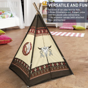 EasyGo Products Indoor Tee Pee Tent – Play Teepee Tent for Kids with Five Wood Poles and Carry Bag – Five-Sided Walls with Door, Window and Floor