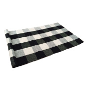 Ustide 100% Cotton Rugs Black/White Chequered Plaid Rug for Kitchen/ Bathroom/ Entry Way/ Laundry Room/ Bedroom 60cm x 130cm