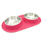 Messy Mutts Stainless Steel Double Dog Feeder with Non-Slip Silicone Base