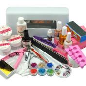 Cocelia 9W White Square Lamp Dryer UV Gel Acrylic Powder Nail Art Set Tool Manicure Decoration French Tips Salon Kit