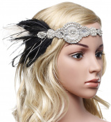 BABEYOND 1920s Flapper Headband 20s Great Gatsby Headpiece Feather Headband 1920s Flapper Gatsby Hair Accessories with Crystal