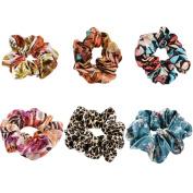 6Pcs Flower Satin Scrunchies, Women's Hair Scrunchies Hair Bow Scrunchy Ponytail Holder-HT001A