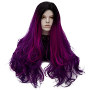 MOCOO Long Wavy Curly Women Purple Ombre Wigs Synthetic Hair Cosplay Halloween Wigs with Wig Cap JF067B