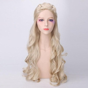"YX YX 80CM 31"" Long Light Blonde & Silver White With Braid Cosplay Wavy Wigs For Women"