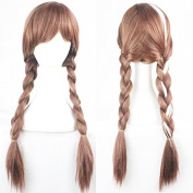 Anna Cosplay Wig, Brown Double Braid Hair Wigs for Frozen, Party, Halloween(+1 Free Wig Cap)- QHQ-ShiningLife wig019A