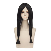 Mufly Japanese Anime Cosplay Wigs Long Straight Black Ponytails Halloween Costume Party Daily Hair