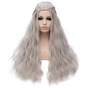 Amback Long Curly Braid Cosplay Wig for Game of Thrones Daenerys Targaryen khaleesi